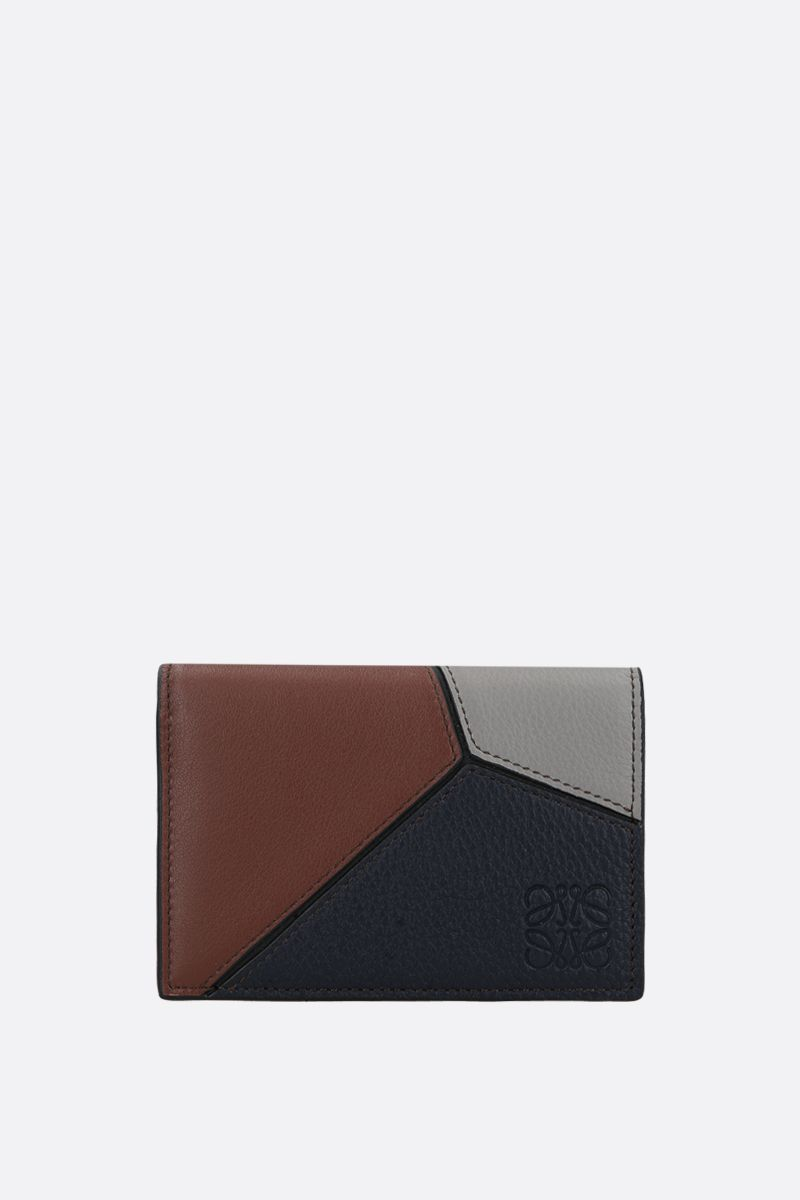 LOEWE: Puzzle leather billfold wallet Color Blue_1