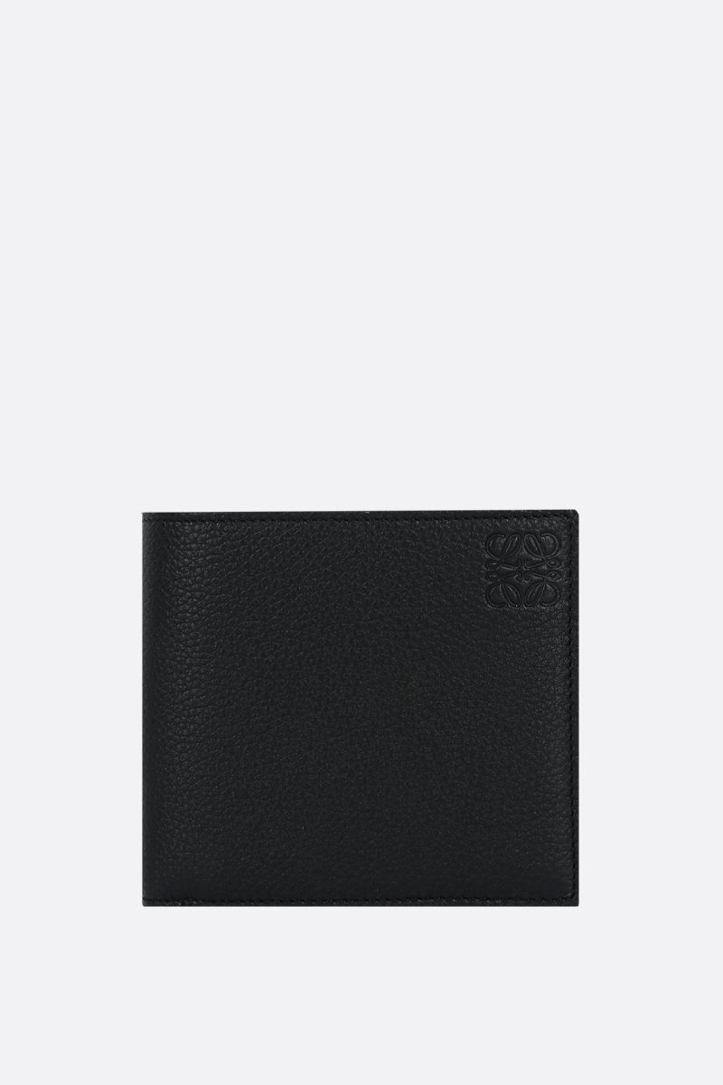 LOEWE: Anagram soft grainy leather billfold wallet Color Black_1