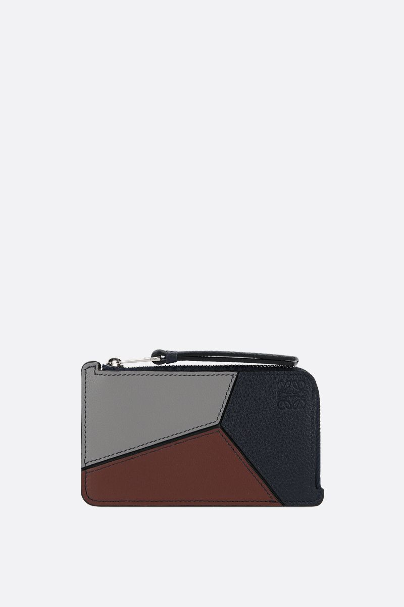 LOEWE: Puzzle leather coin holder Color Blue_1