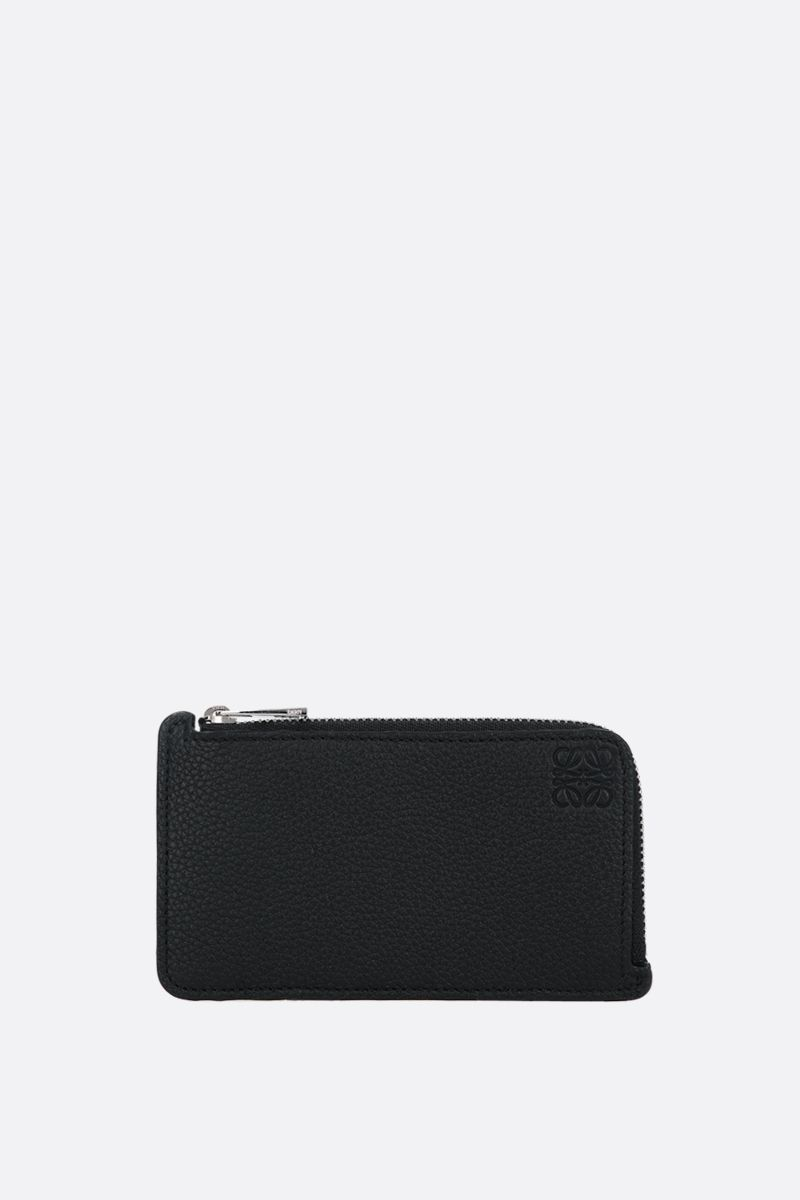 LOEWE: Anagram grainy leather coin holder Color Black_1