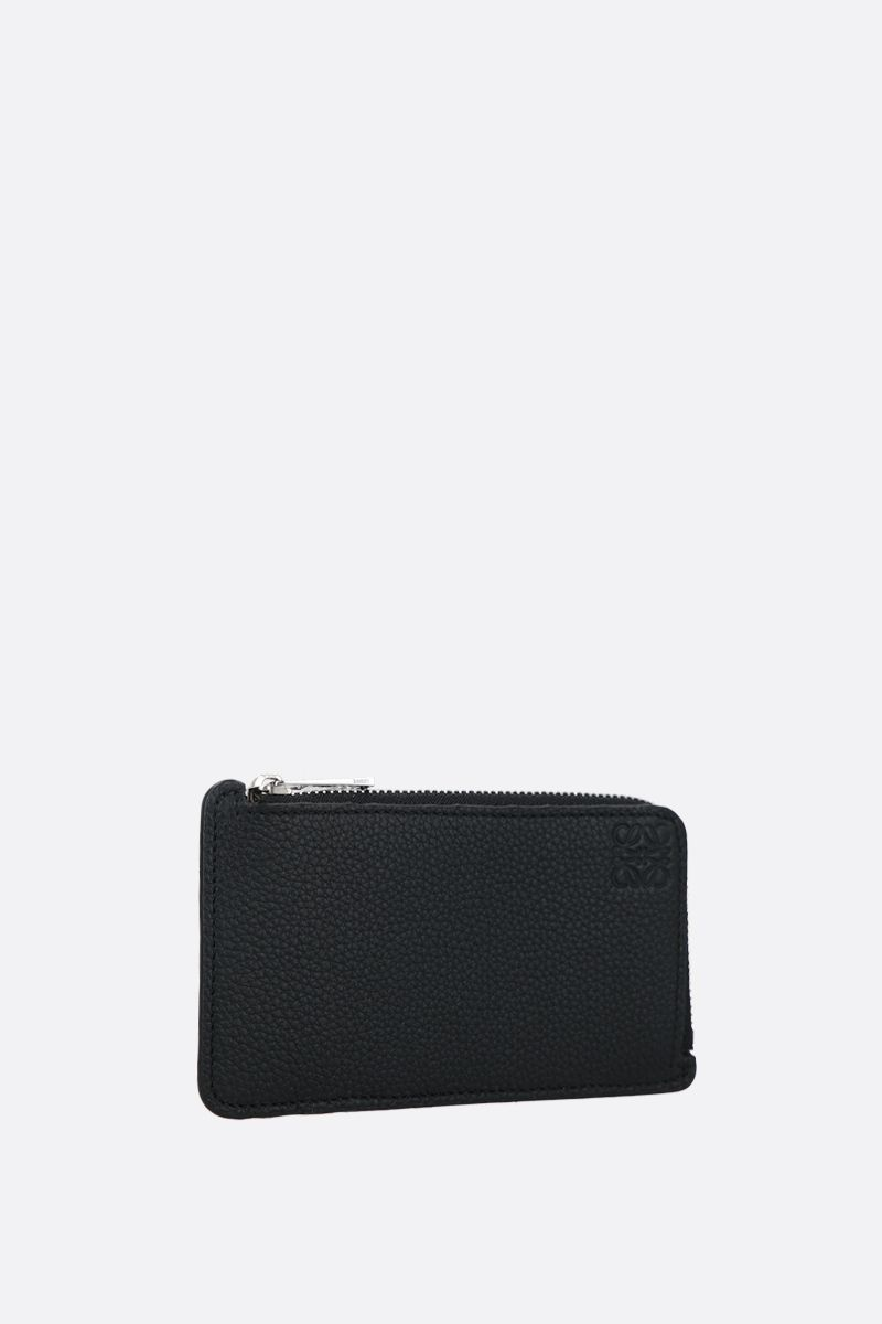 LOEWE: Anagram grainy leather coin holder Color Black_2