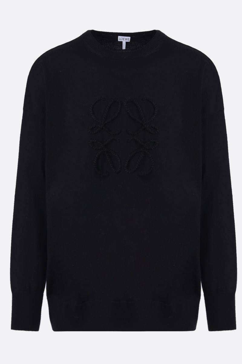 LOEWE: Anagram embroidered wool cashmere blend pullover Color Black_1