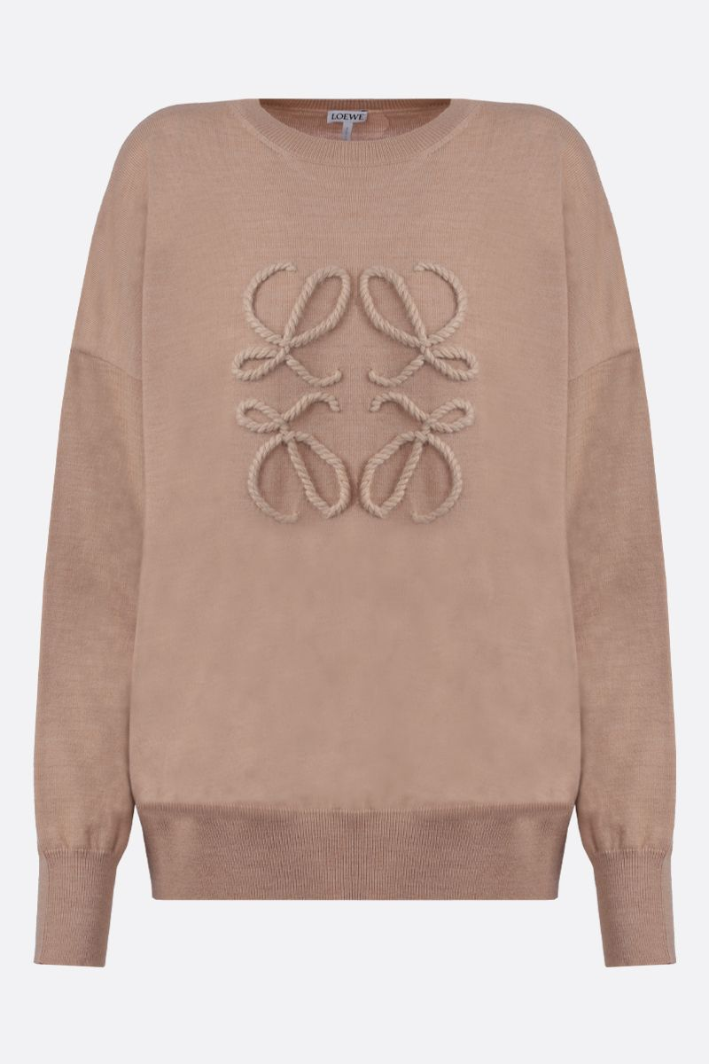 LOEWE: pullover in lana ricamo Anagram_1