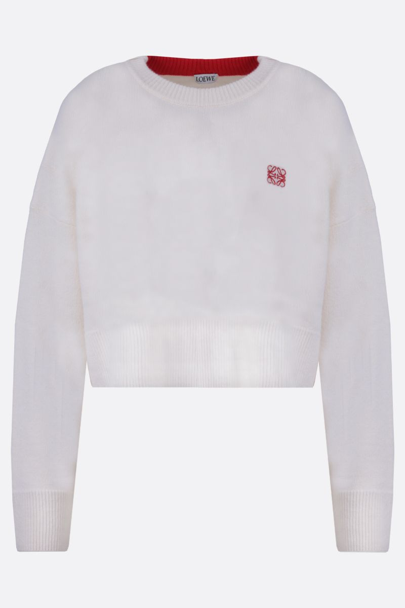 LOEWE: pullover cropped in lana ricamo Anagram Colore Bianco_1