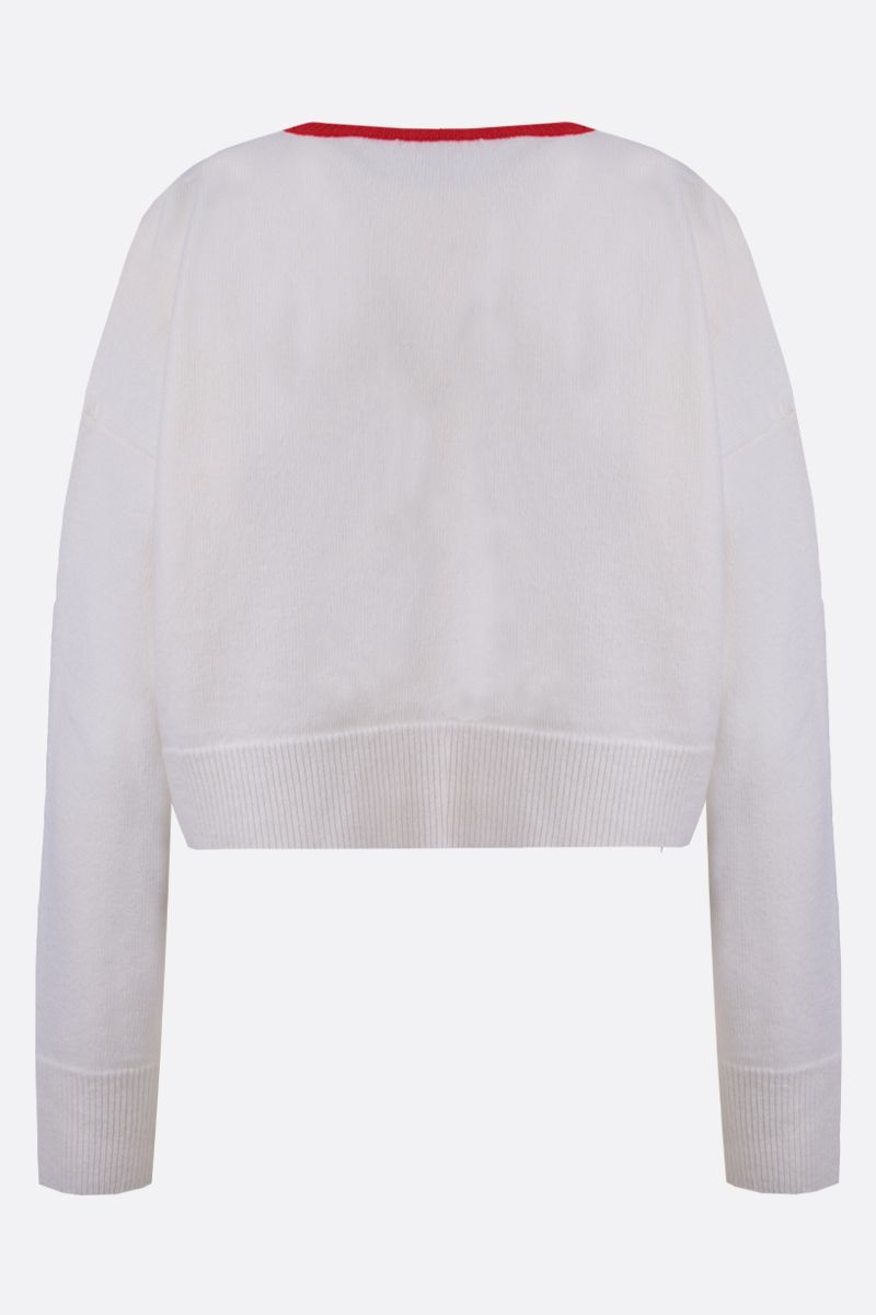 LOEWE: pullover cropped in lana ricamo Anagram Colore Bianco_2