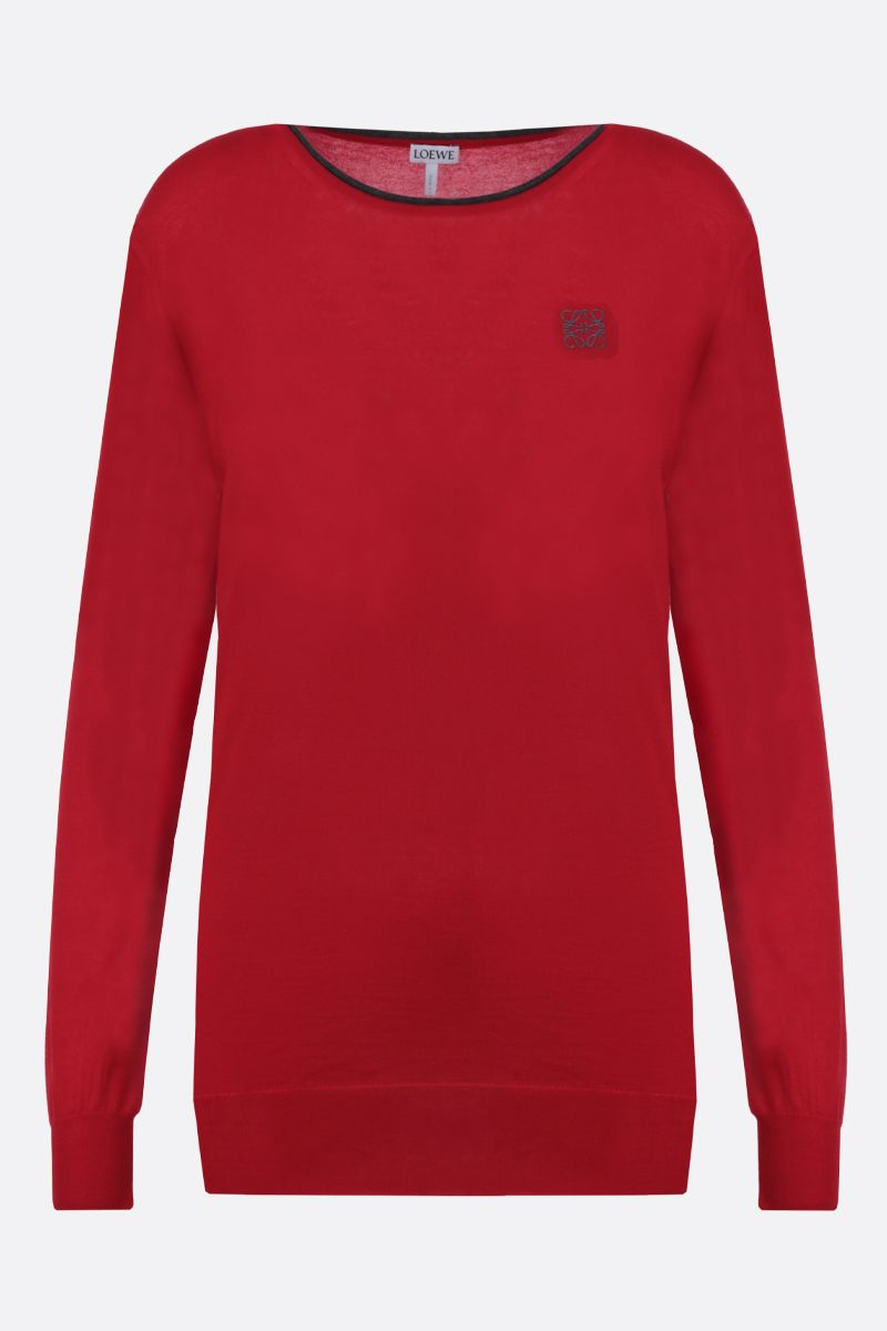 LOEWE: pullover in cashmere ricamo Anagarm Colore Rosso_1