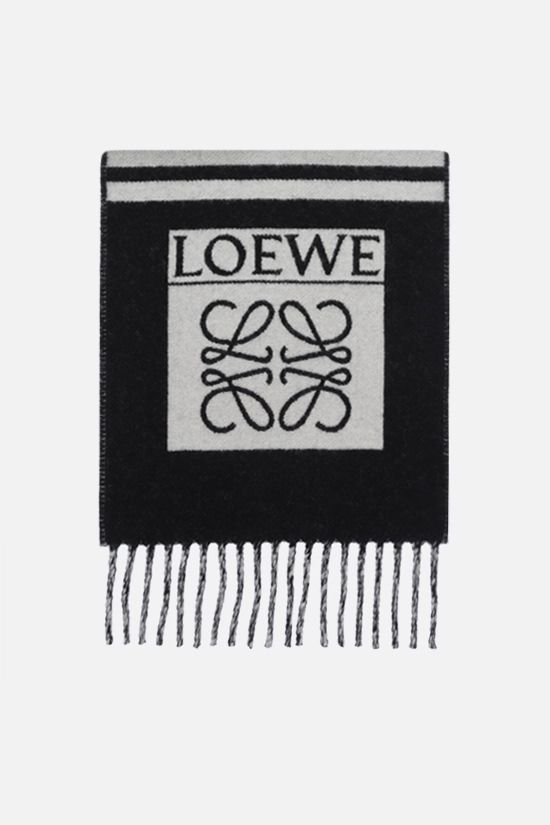 LOEWE: wool cashmere blend football scarf Color Black_1