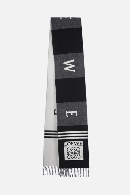 LOEWE: wool cashmere blend football scarf Color Black_2