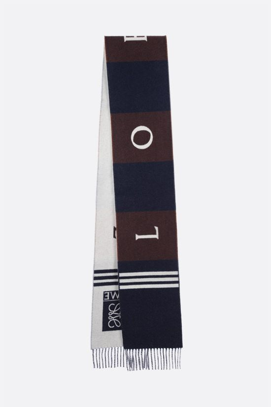 LOEWE: wool cashmere blend football scarf Color Blue_2