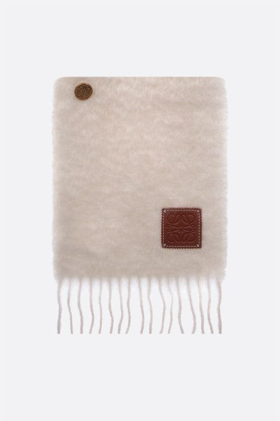 LOEWE: mohair wool blend buttons scarf Color White_1