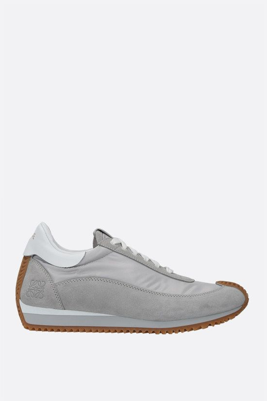 LOEWE: Flow nylon and suede sneakers Color Grey_1