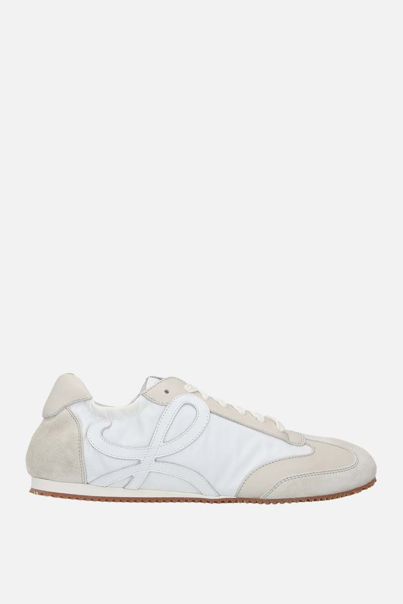 LOEWE: Ballet suede and nylon trainers Color White_1