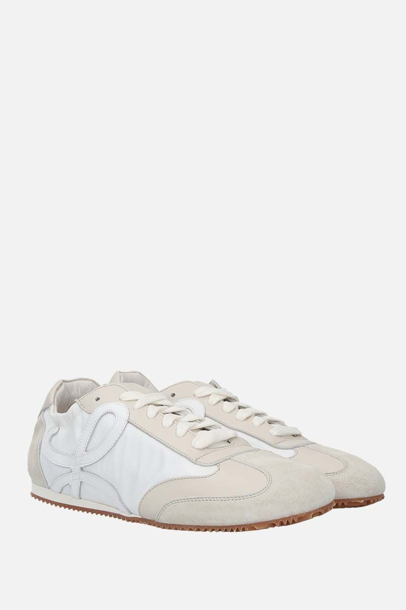 LOEWE: Ballet suede and nylon trainers Color White_2