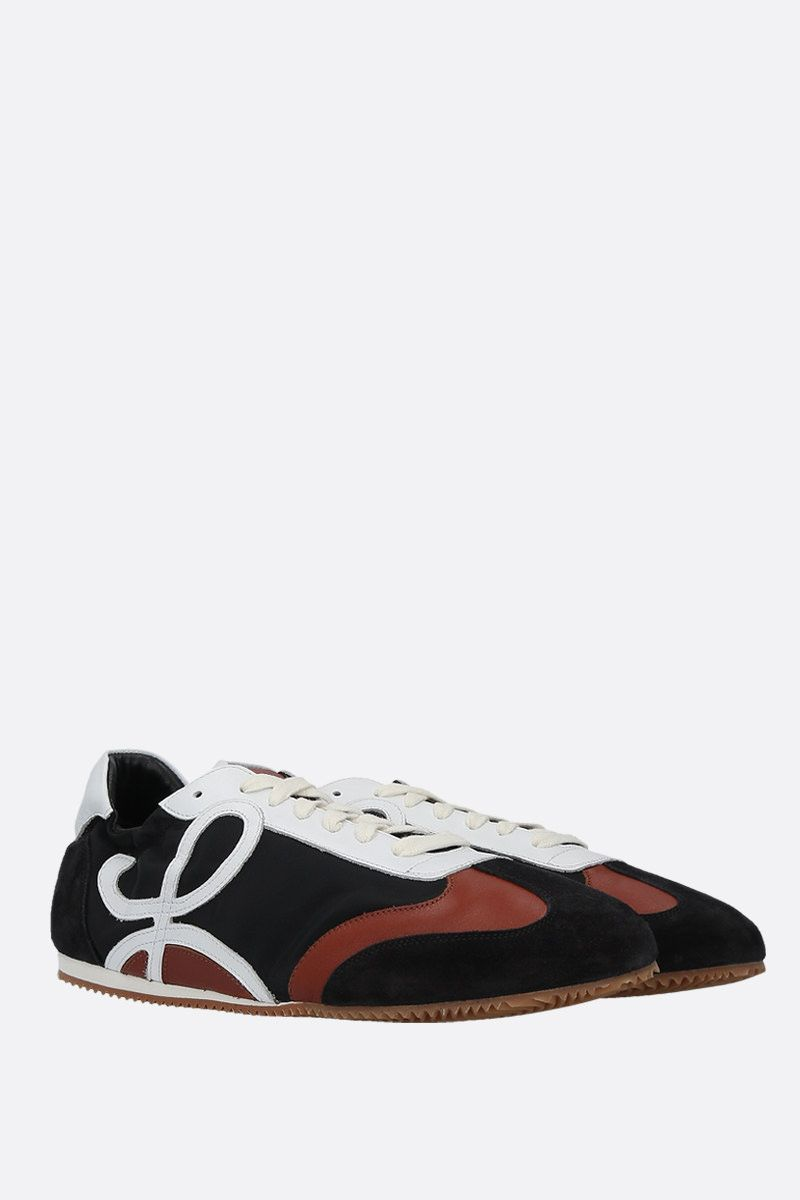 LOEWE: Ballet suede and nylon sneakers Color Black_2