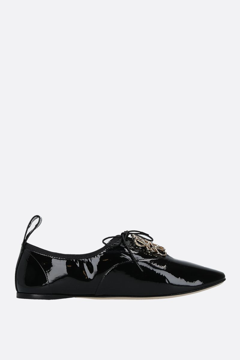 LOEWE: Anagram patent leather derby shoes Color Black_1