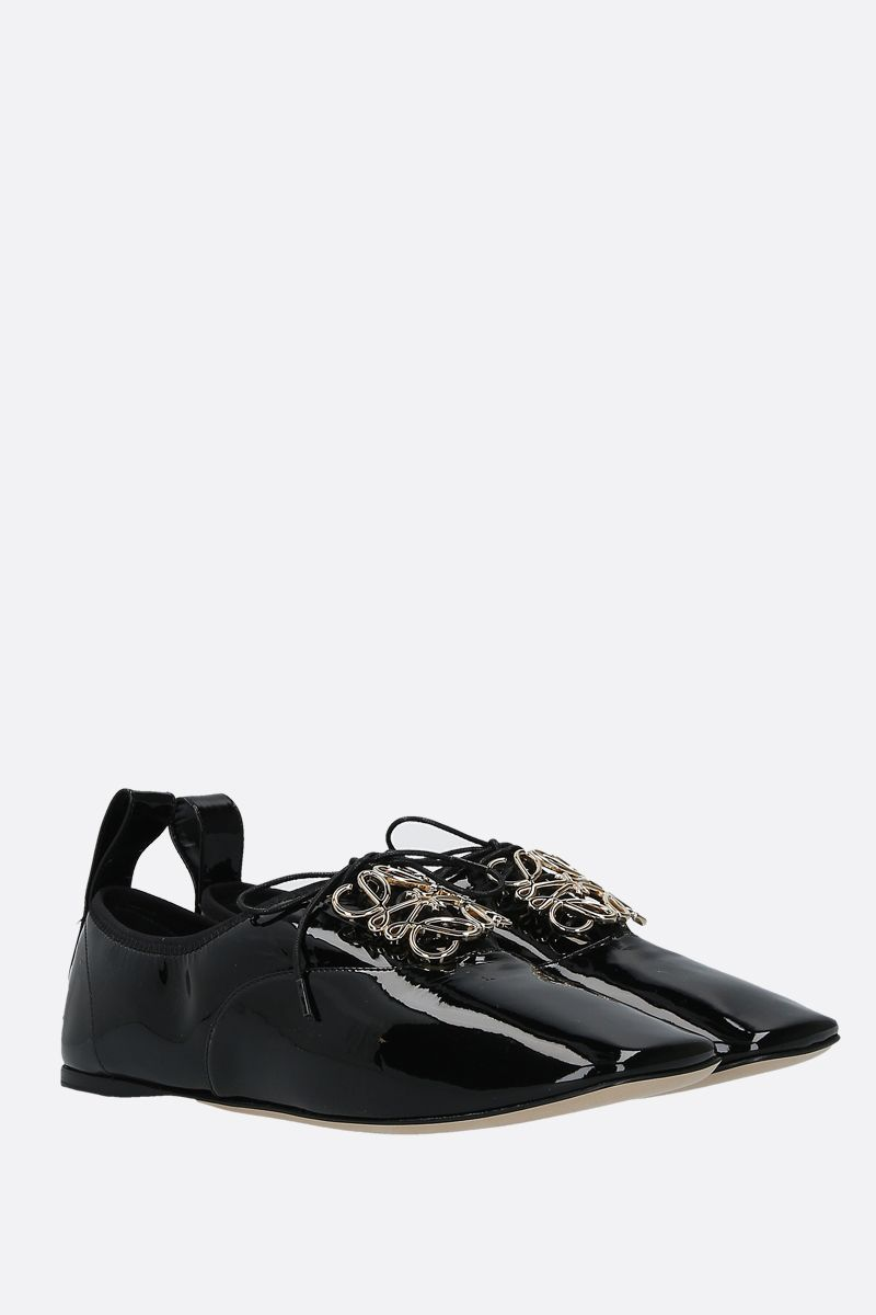 LOEWE: Anagram patent leather derby shoes Color Black_2