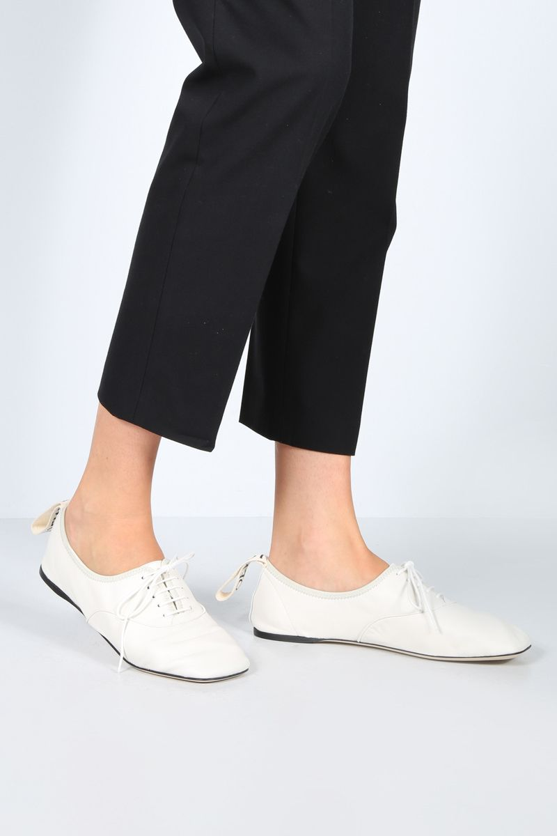 LOEWE: soft nappa derby shoes Color White_2