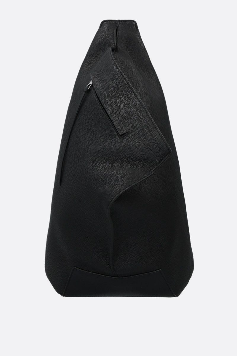 LOEWE: Anton small grainy leather one-shoulder backpack Color Black_1