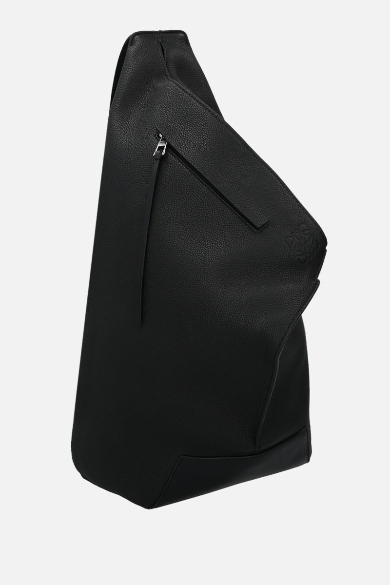 LOEWE: Anton small grainy leather one-shoulder backpack Color Black_2