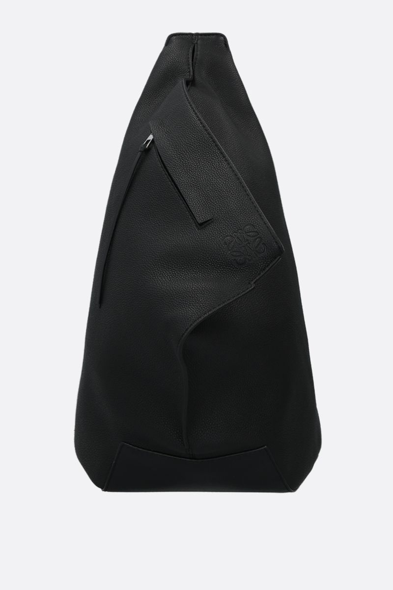 LOEWE: Anton small soft grainy leather one-shoulder backpack Color Black_1