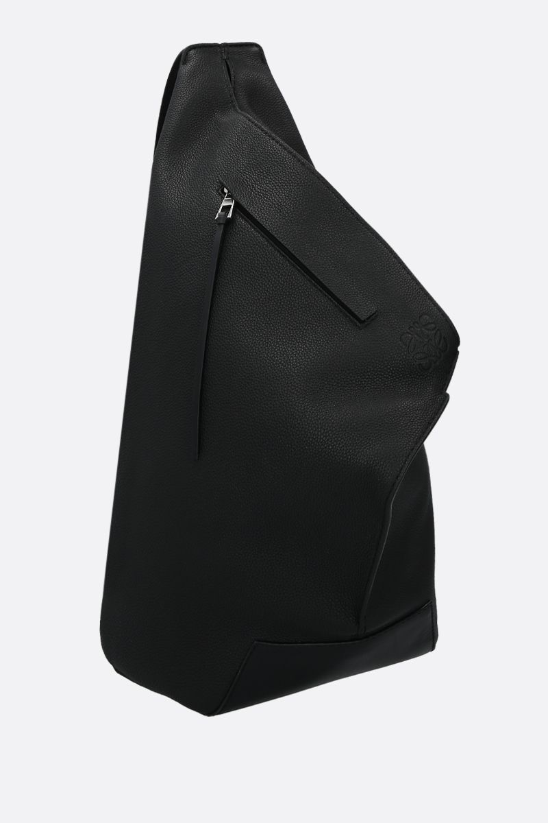 LOEWE: Anton small soft grainy leather one-shoulder backpack Color Black_2