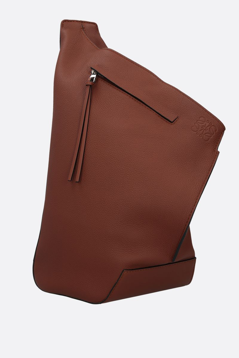 LOEWE: Anton small soft grainy leather one-shoulder backpack Color Brown_2