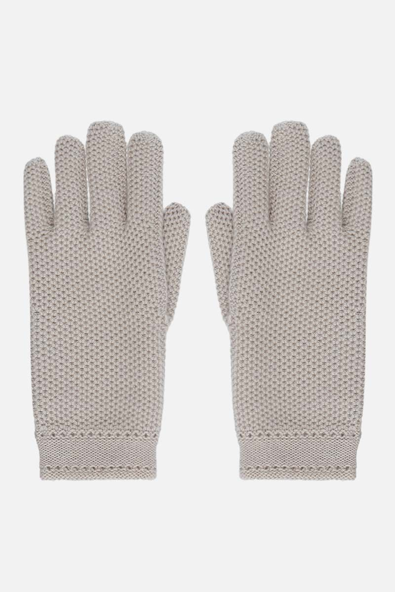 LORO PIANA: Crochet cashmere gloves Color Neutral_1