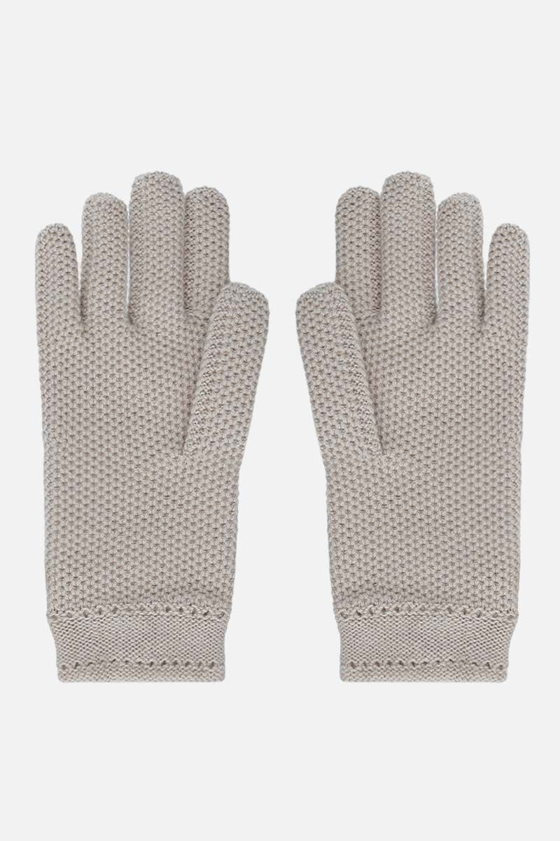 LORO PIANA: Crochet cashmere gloves Color Neutral_2