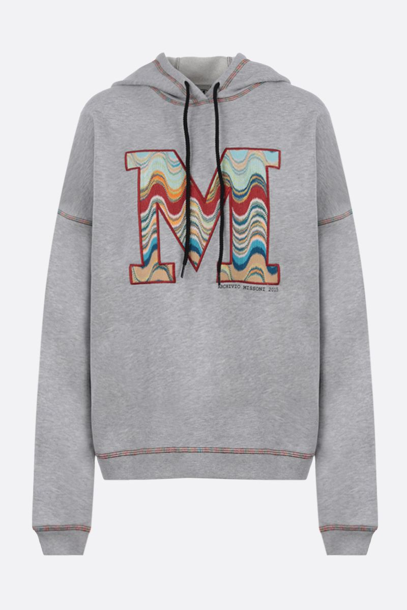 M MISSONI: M embroidered cotton hoodie Color Grey_1