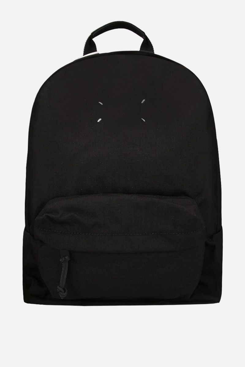 MAISON MARGIELA: badge holder-detailed nylon backpack Color Black_1