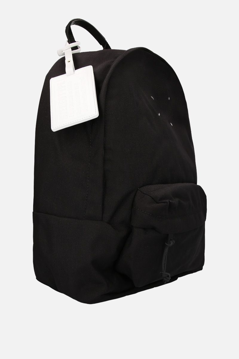 MAISON MARGIELA: badge holder-detailed nylon backpack Color Black_2