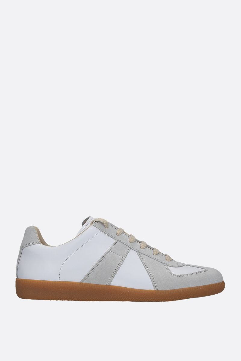 MAISON MARGIELA: Replica smooth leather and suede sneakers Color White_1