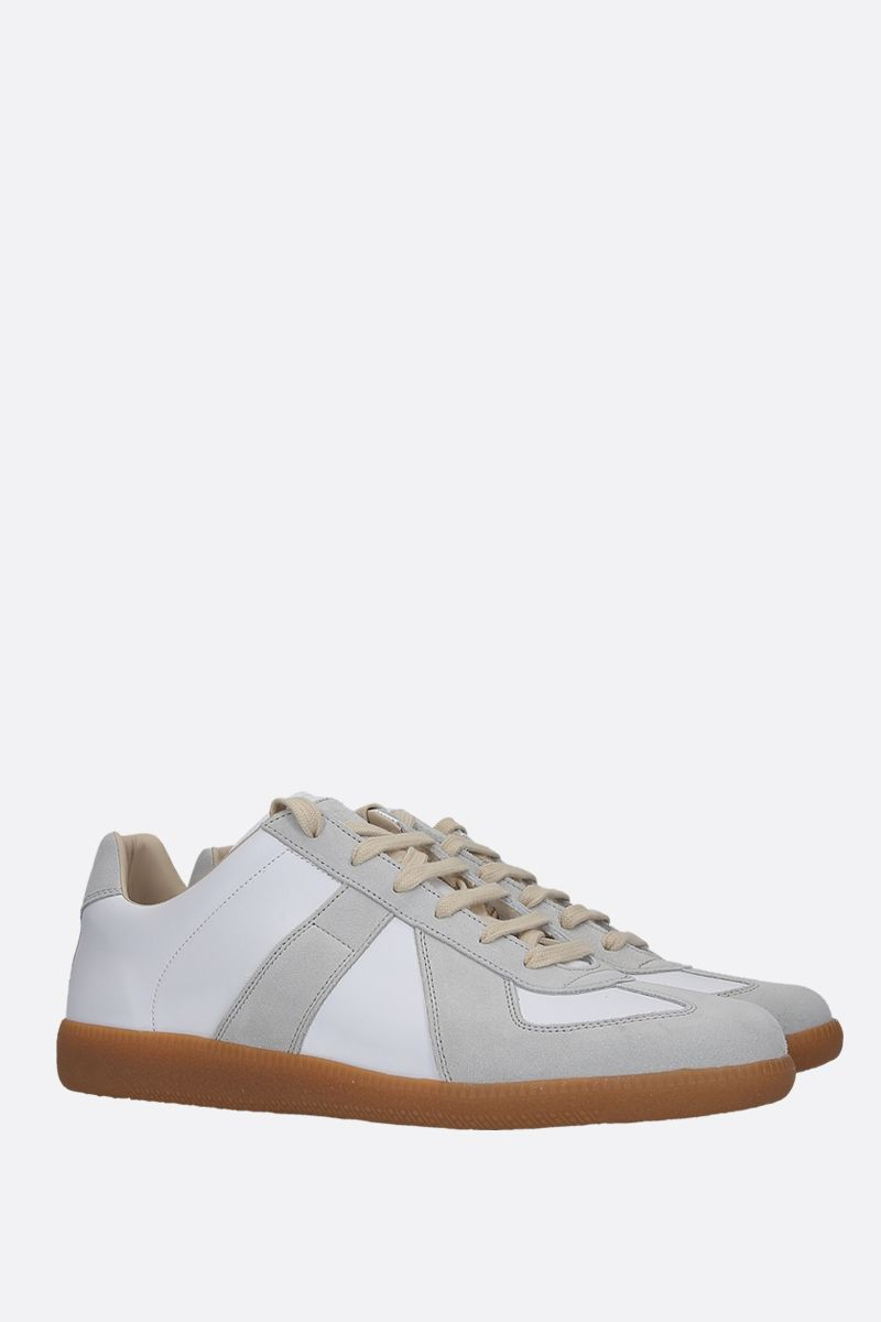MAISON MARGIELA: Replica smooth leather and suede sneakers Color White_2