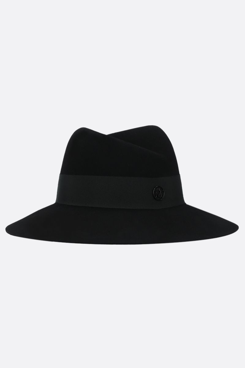 MAISON MICHEL: Virginie wool felt fedora hat Color Black_1