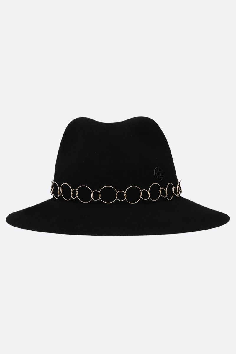 MAISON MICHEL: Henrietta felt fedora hat Color Black_1