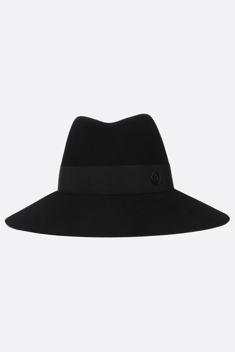 MAISON MICHEL: Kate felt fedora hat Color Black_1