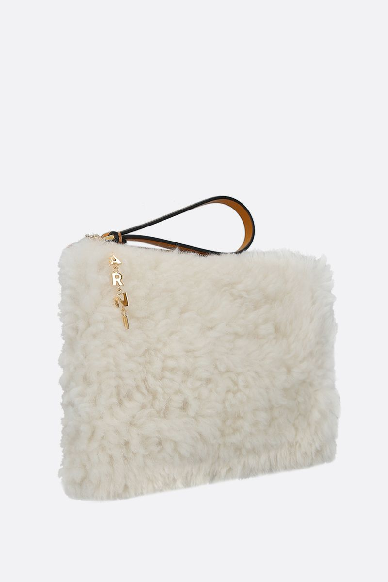 MARNI: shearling and smooth leather pouch Color Neutral_2