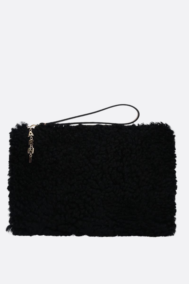 MARNI: shearling and smooth leather pouch Color Black_1