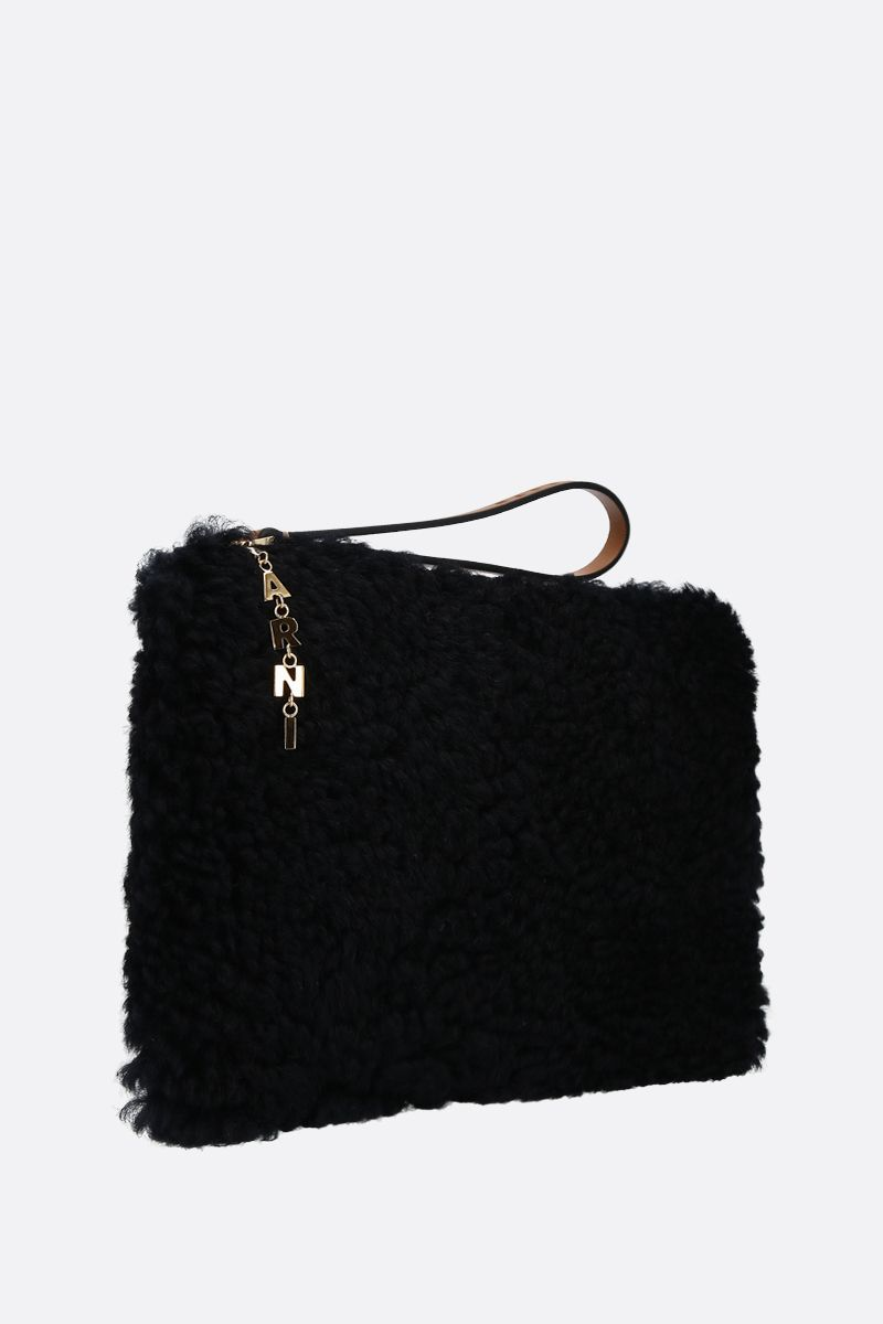 MARNI: shearling and smooth leather pouch Color Black_2