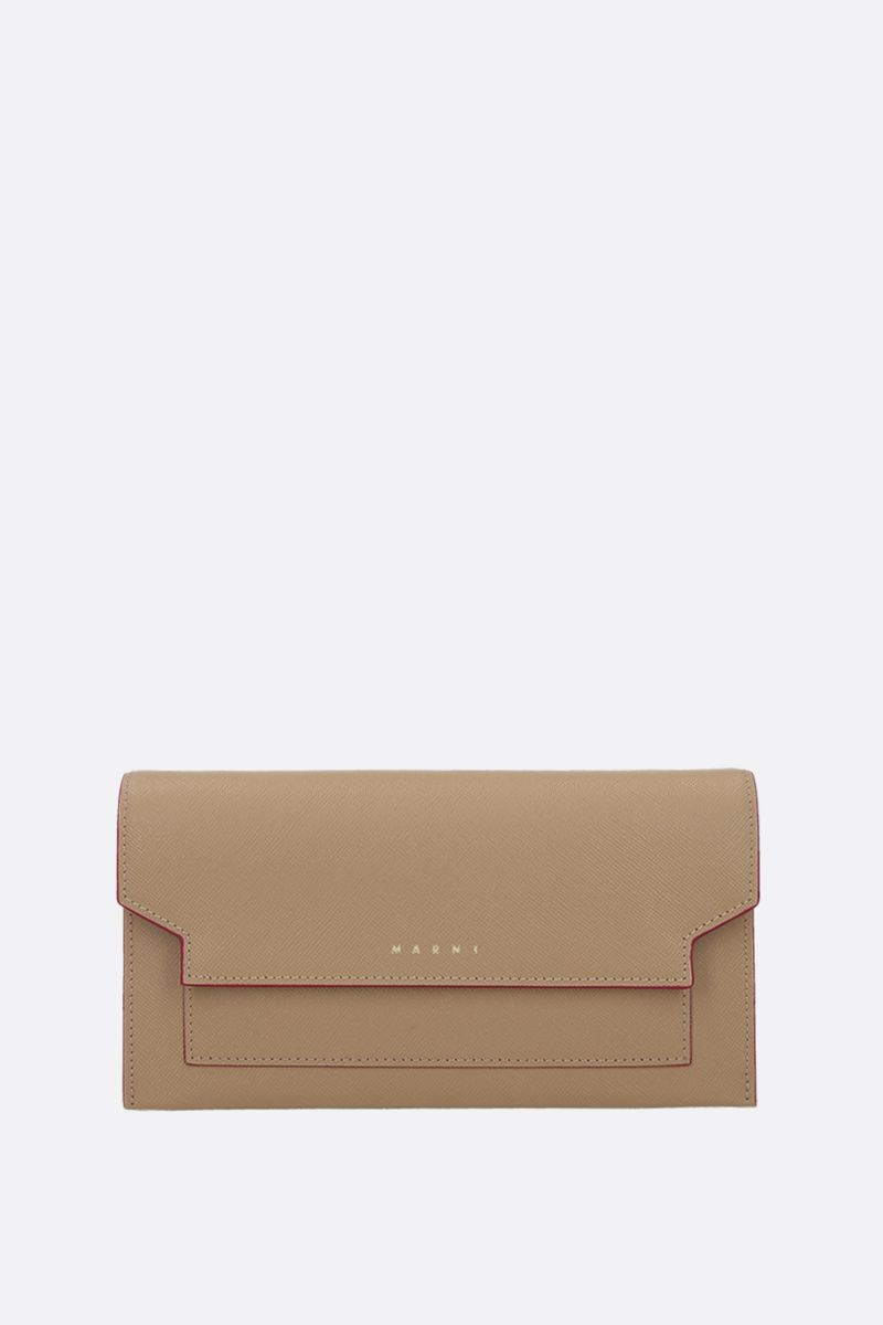 MARNI: saffiano leather strap wallet Color Neutral_1