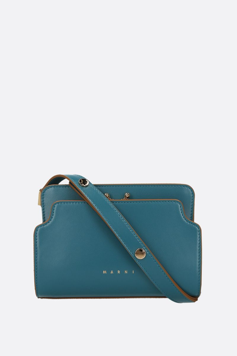 MARNI: Trunk mini smooth leather shoulder bag Color Blue_1