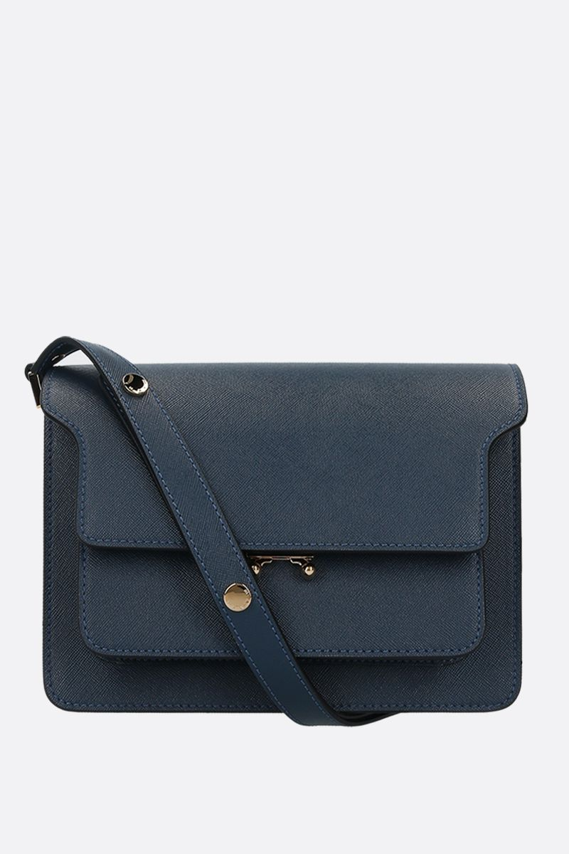MARNI: Trunk medium shoulder bag in saffiano leather Color Blue_1
