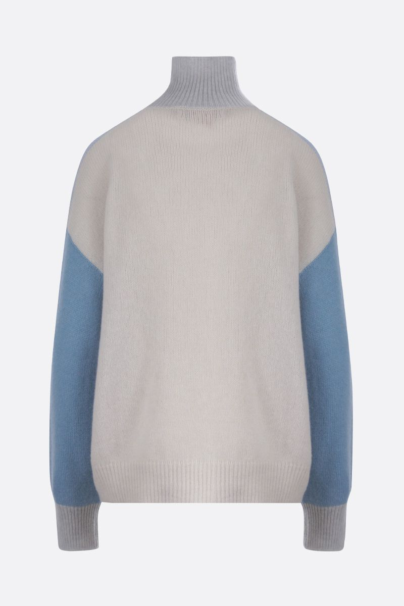 MARNI: color-block cashmere turtleneck Color Blue_2