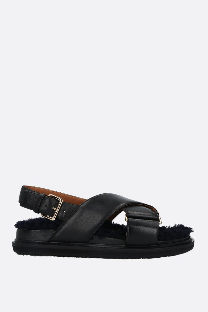 MARNI: Fussbett nappa and shearling flat sandals Color Black_1