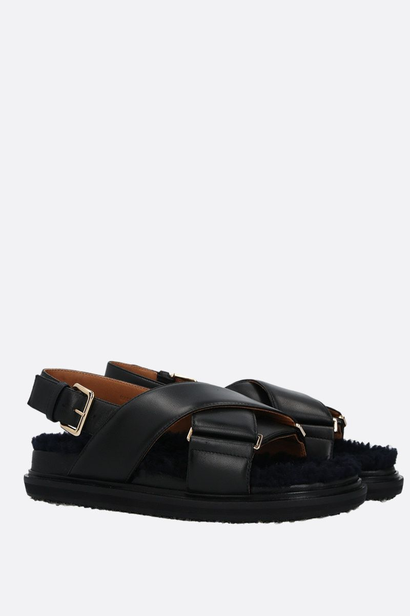MARNI: Fussbett nappa and shearling flat sandals Color Black_2