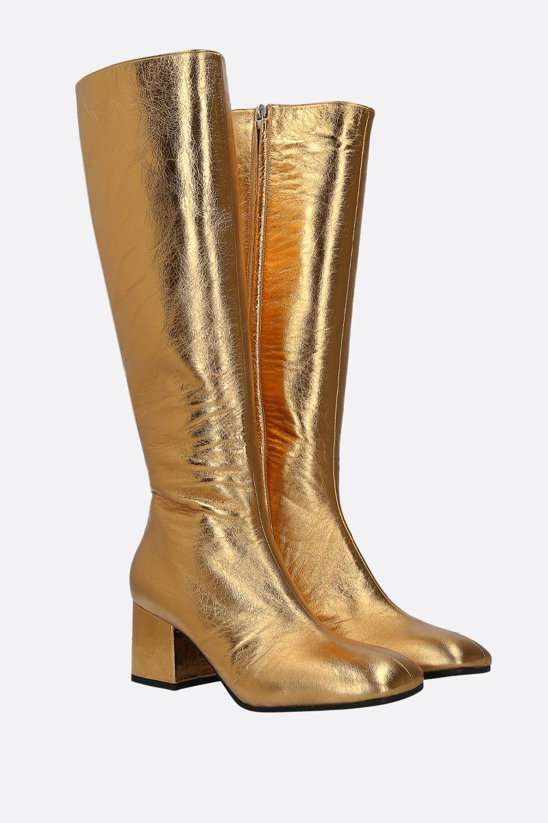MARNI: laminated nappa leather boots Color Gold_2