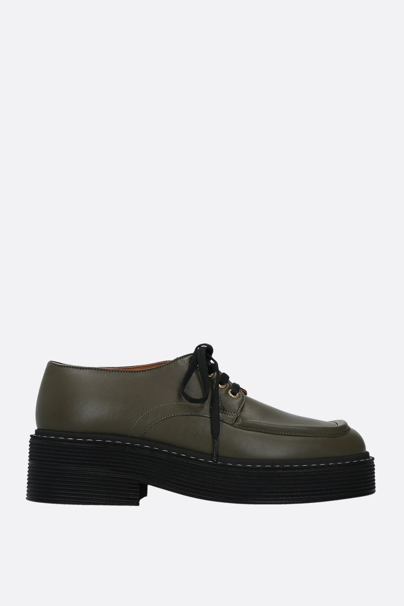 MARNI: smooth leather derby shoes Color Green_1