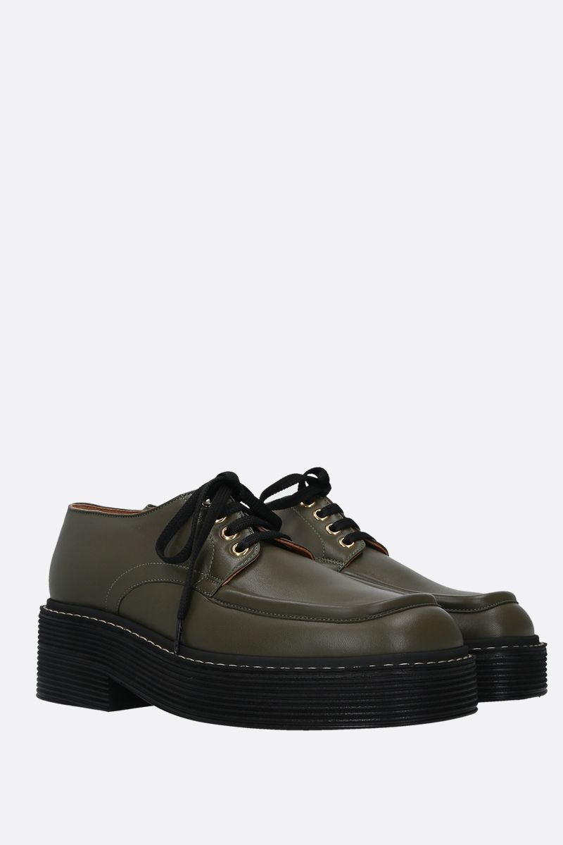 MARNI: smooth leather derby shoes Color Green_2