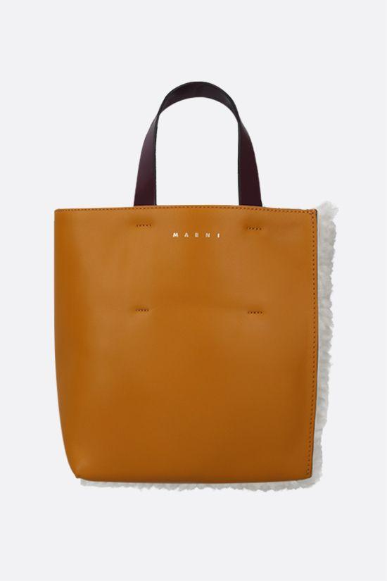 MARNI: Museo Soft mini shearling and smooth leather tote Color Neutral_1