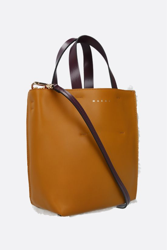 MARNI: Museo Soft mini shearling and smooth leather tote Color Neutral_2